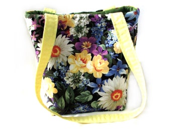 Floral Purse, Small Tote Bag, Handmade Handbag, Cloth Purse, Flowers, Fabric Bag, Teen Purse, Shoulder Bag