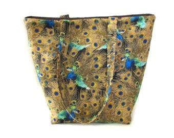 Peacock Tote Bag, Cloth Purse, Handmade Handbag, Peacock Feathers, Brown, Blue, Green, Orange,  Fabric Bag, Shoulder Bag
