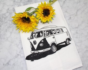Tea Towel - Screen Printed Flour Sack Towel - Volkswagen Bus - Kitchen Towel - Flour Sack Absorbent Cotton - Hippy Bus
