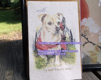 special needs /wills ( a best friend's song  )  wheel cart dog cards/ journey cards/sentimental cards/unique empathy condolence cards