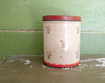 Vintage Kitchen Canister, Red 1940s Metal Flower Pot Motif, White Cream Green Rusty Tin Flour, Sugar, Coffee, Tea Can, Shabby Chic Kitchen