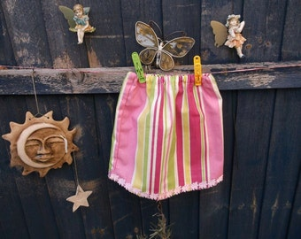 Rainbow skirt with a piggy trim to fit 0-3 month baby girl elasticated waist