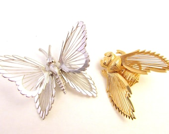 Monet Insect / Bug Brooches - Silver Tone Butterfly and Gold Tone Bee Pin