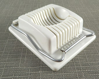 Vintage Egg Slicer ACME Wire Cutter White Plastic 1970s Kitchen Utensil Made in the USA