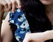 Lingerie Eye Pillow Sleep Mask / Blue Floral Silk Black Stars Lace / TEMPEST Sleep Mask - Nightfall / Ocean