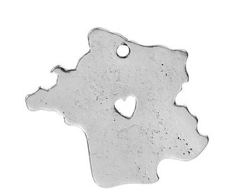10 FRANCE MAP Charms, Silver Plated Country Pendants, Heart Cutout, 28x26mm, chs2437