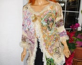 cardigan jumper sweater embroidered romantic gypsy queen boho double breasted handmade knitted gift idea for her wearable art by goldenyarn