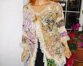 cardigan jumper embroidered romantic gypsy queen boho handmade knitted OOAK gift idea for her wearable art by goldenyarn