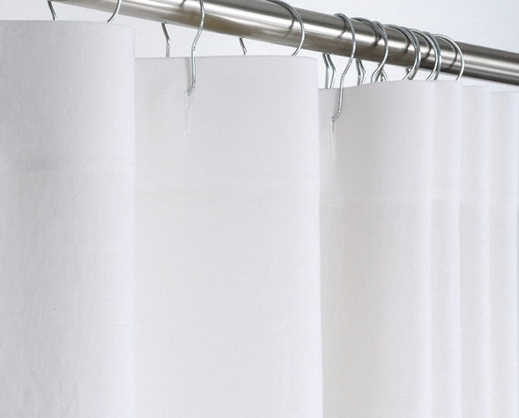 WHITE Shower Curtain PURE LINEN 72 Wide x 72 78 84 by