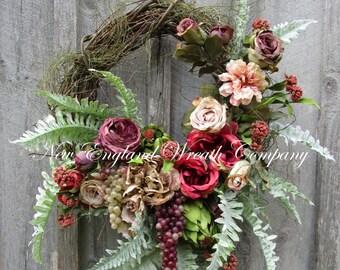 Floral Wreath, Designer Wreath, Victorian Wreath, Tuscany Wreath, Elegant Summer Wreath, Fruit Wreath, Country English, Country French