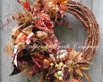 Fall Wreath, Autumn Wreaths, Elegant Fall Wreath, Thanksgiving Wreath, Fall Designer Wreath, Fall Country French, Victorian Fall Wreath