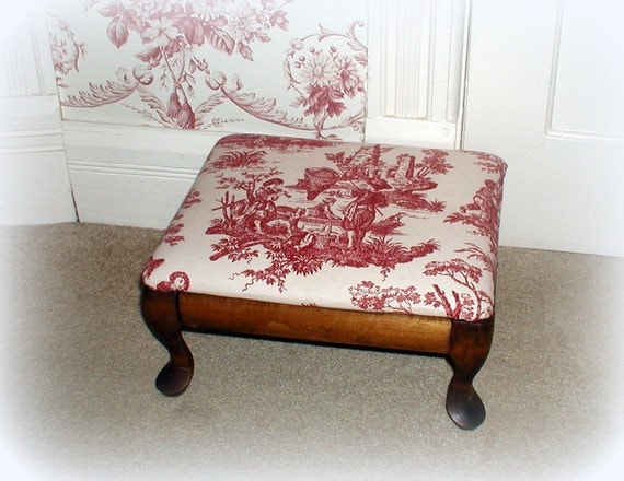 Vintage Red Toile Upholstered Footstool Restored Wooden Foot