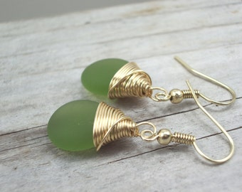 Green seaglass earrings, gold wire wrap Boho gemstone earrings, simple elegant drop dangle earrings