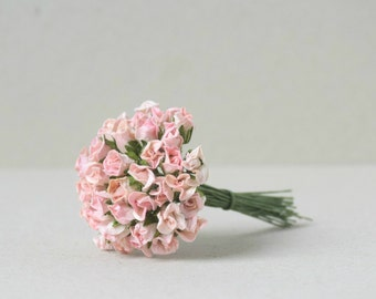 10   mm /  20  Mixed  Cream  Pink  Paper  Rose buds