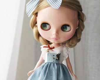 Alice ribbon Dress - for Blythe, MocaPinoRu, Mary&Ann - doll outfit - by kreamdoll