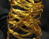 Fairmined Gold plated bracelet-Nouvelles vagues- Gold-Plated Exceptional Jewelry-Unique Hammered bracelet-Emilie Bliguet Design-Barcelona
