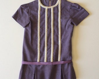 1960's Mod Purple Shift Dress (3t)