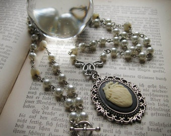 The Specimen, Ivory Anatomical Heart Cameo on a Vintage Rosary Chain
