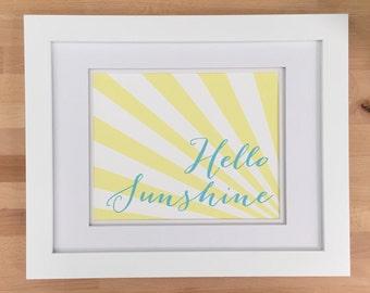 Hello Sunshine Art Print , Tree Free Cotton Rag, Wall Decor, Typography, Digital Print, Bright Modern Color, Nursery Art, Beach House Print