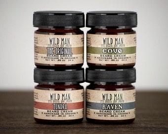 Beard Balm Gift Set - Wild Man Beard Cream Sampler Set - Gift For Him