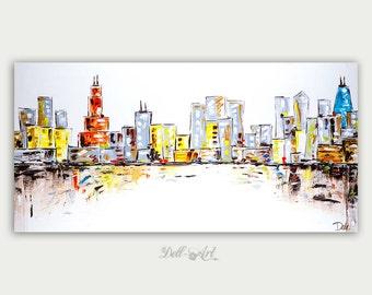 Original Colorful Chicago Skyline, Oil Painting, Abstract Modern Skyline, Fine Art, Home Decor