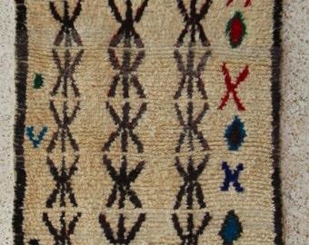 "390X100cm (12' 8""X3' 3""feet)FREE SHIPPING WORLDWIDE AZ23781 Azilal Ourika ,Beni Ourain vintage berber rug Morocco,wool carpet , boucherouite"