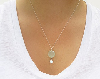 Aqua Chalcedony Pendant with Petal Detail - Aqua Chalcedony Necklace