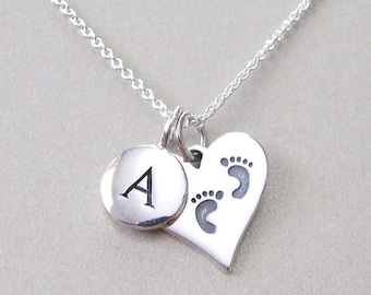Initial & Footprint Charm Necklace - Personalized Jewelry - Silver Initial Necklace - Mommy Necklace - Initial Necklace