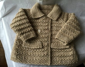 """Girl's Beige Wool and Linen mix Car Jacket / Coat / Sweater 22"""" chest suitable for  Age 1 -  2  Years  Hand Knitted in Scotland"""