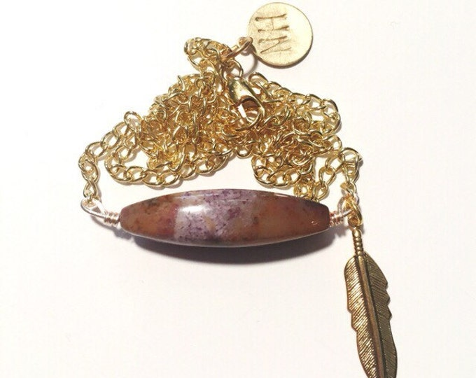 Jasper + Feather Necklace // Jewelry // Free Spirit Collection
