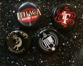 Black Bottle Cap Magnets - Set of 4 - Colorful Bar Decorations - Gifts for Guys or Girls