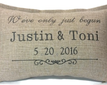 We've only just begun Custom Embroidered Pillow Cover with crystals - Wedding Gift