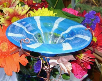 Striped BUTTERFLY FEEDER, Bird Feeder, stained glass, Aqua, White, Garden Decor, copper, garden stake