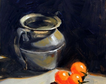 Pewter Pot and Three Tomatoes - Bright Cherry Tomatoes and Metal Vase - Kitchen Still Life