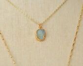 Druzy Necklace, Boho Style Jewelry, Small Druzy Necklace, Gold Druzy, Blue Druzy, Necklace,Boho Necklace, Pendant Necklace, Stone Necklace,