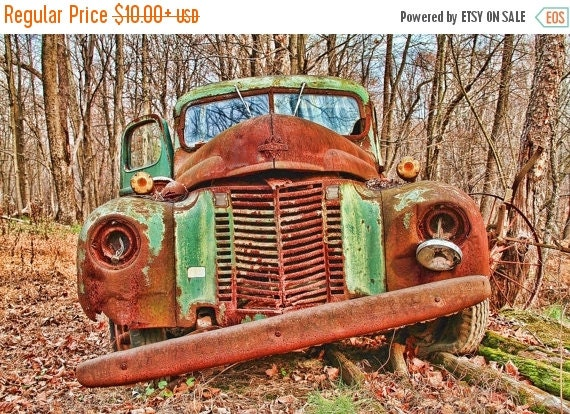 SALE 20% OFF Rusty Old Green Truck in Autumn Color Photograph Vintage Car HDR Photograph Brown Green Rust Art Print Shabby Chic Home Decor