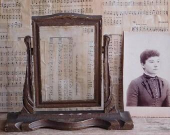 Antique Wooden Photo Swing Frame, 4x6 Art Deco Tilt Frame Gesso Finish