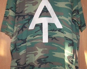 Hand screen printed Appalachian Trail T-Shirt; beige on camouflage