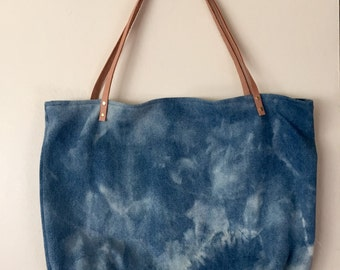 Hand-bleached denim tote with leather staps - 004