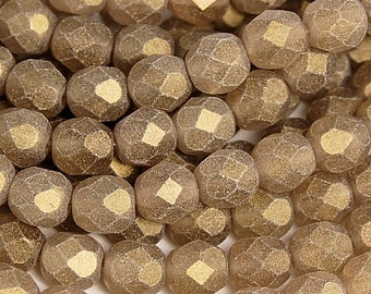 Sueded Gold Smoky Topaz Czech Glass Faceted 6mm Beads -25