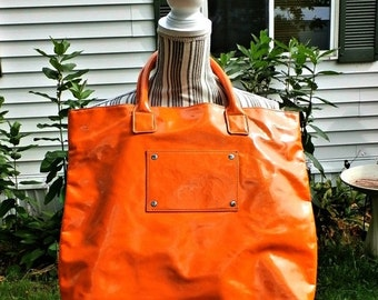 1990s X-Large day glo orange Vinyl Tote Bag glam bright Shiny summer overnight carry on beach bag  kitschy retro preppy luggage