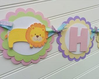Girls Birthday banner in pastels, Zoo animal theme.