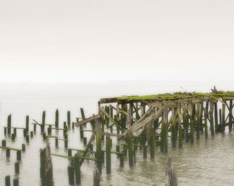 Ocean Pier Boat Dock Photography Print 11x14 Fine Art Astoria Oregon Pacific Northwest Rustic Beach Spring Landscape Photography Print.
