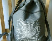 Octopus Backpack Screen Printed Canvas Laptop Bag