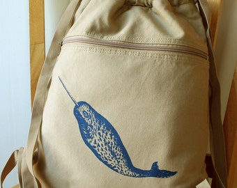 Narwhal Backpack Carryall Beach Bag Gym Bag