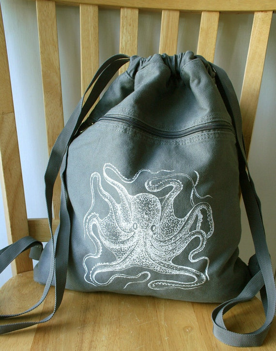Octopus Backpack Screen Printed Canvas Laptop Bag