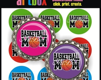 ON SALE Basketball Mom Bottle Cap Images - 4X6 Digital Collage Sheet - BottleCap 1 Inch Circles for Pendants, Hair Bows, Magnets