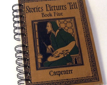 1918 STORIES PICTURES TELL Handmade Journal Vintage Upcycled Book Gift for Art Teacher