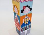 64 little ladies, stacking cube, DIY, paper craft, Ellen Giggenbach
