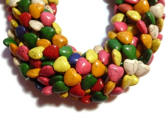 Rainbow Howlite - Heart Shaped Beads - 12mm x 12mm - Mixed Color - Full Strand -  38  beads - Colorful - synthetic turquoise